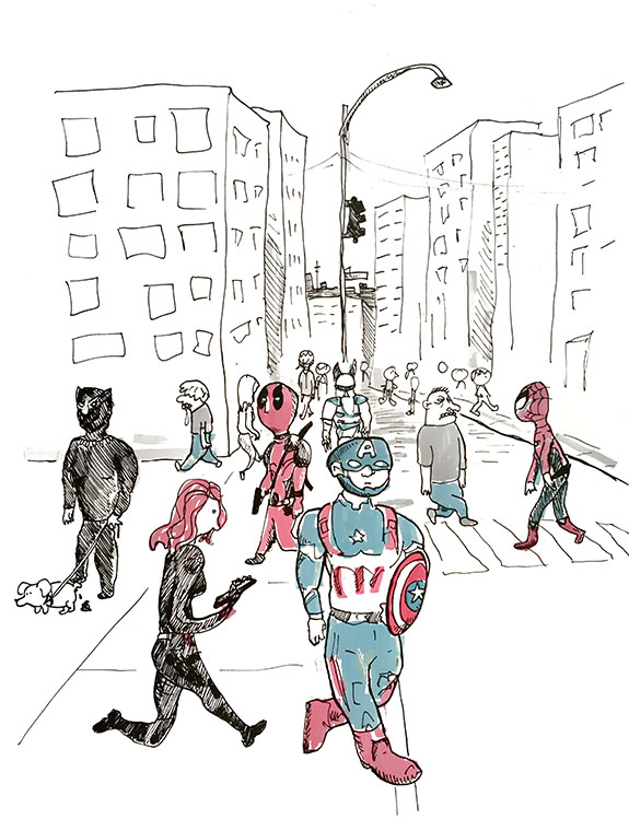Superheroes walking around a city.