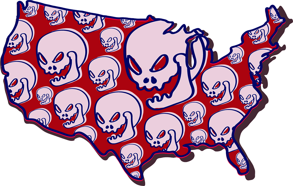 illustration by May Walker of a red map of the united states outlined in blue with pink skulls that are maniacally smiling inside the map of the United States.