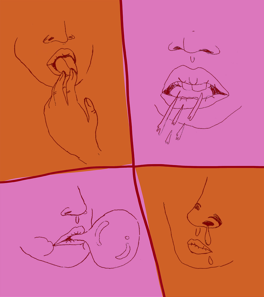 Orange and pink squares with drawings of mouths making noise in each square. One is blowing a bubble with gum, another has a runny nose. One is licking their finger and the one next to it is spitting while speaking.