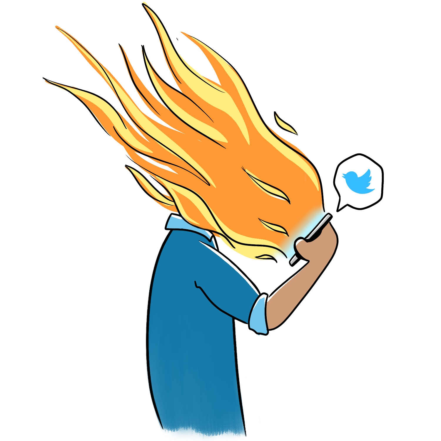Illustration of someone in a blue shirt staring down at their phone as flames and Twitter birds jet out from the screen.