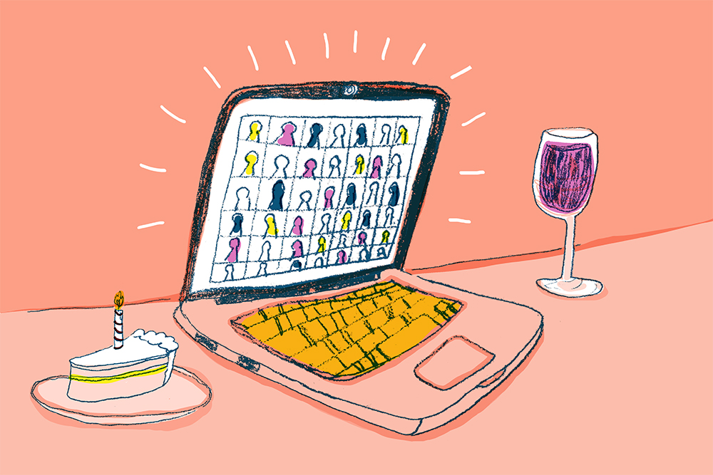 Illustration of an open laptop full of graduating seniors. On each side of the laptop is a glass of wine and a piece of celebratory cake.