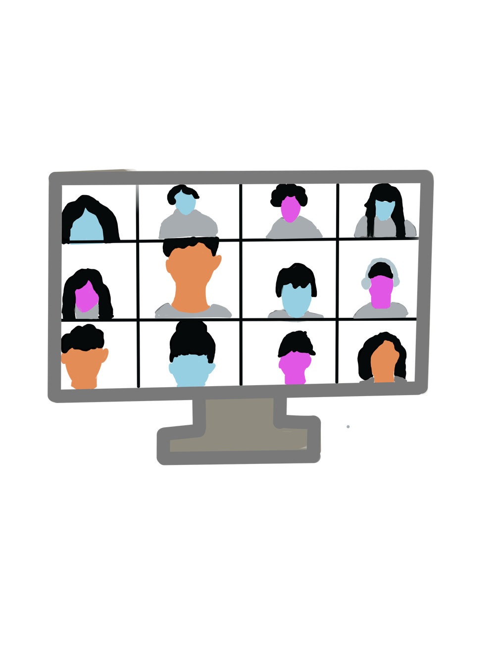 Illustration of a video classroom with orange, blue and pink faces fill the twelve squares.