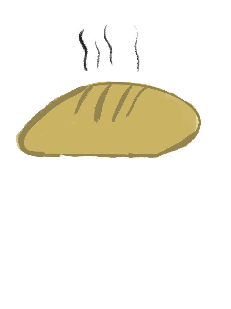 illustration of a freshly baked loaf of sourdough.