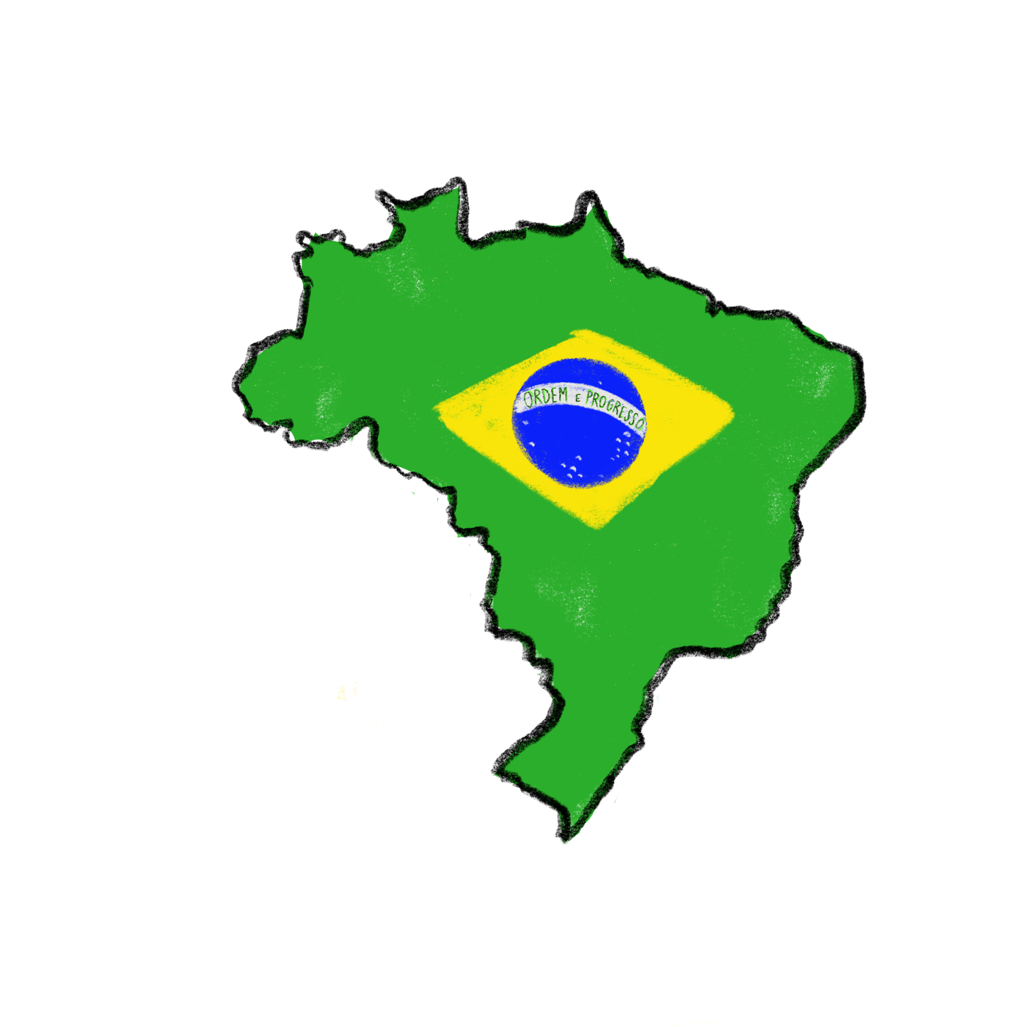 digital illustration of the country of Brazil with their flag in the middle of it.