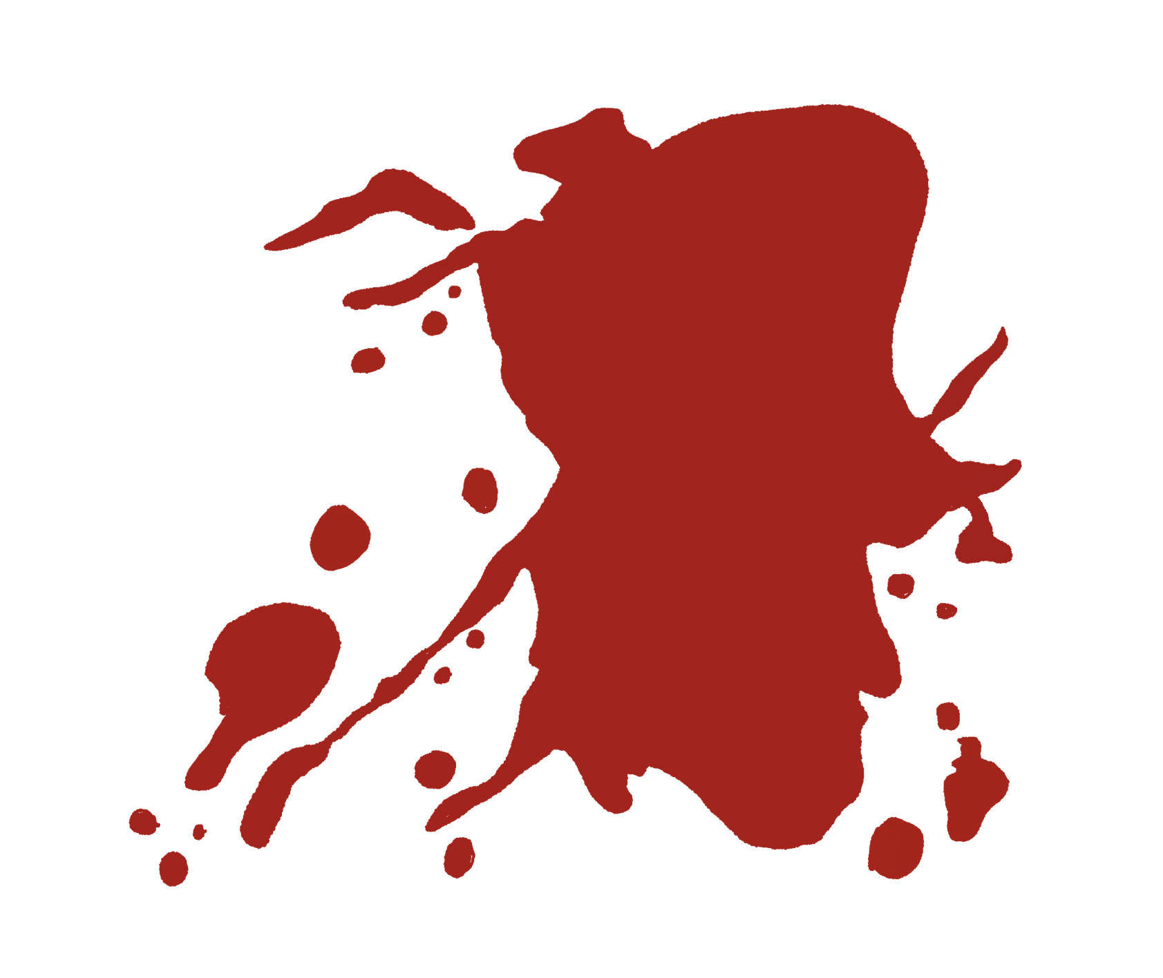 an illustrated spot of red blood on a white background
