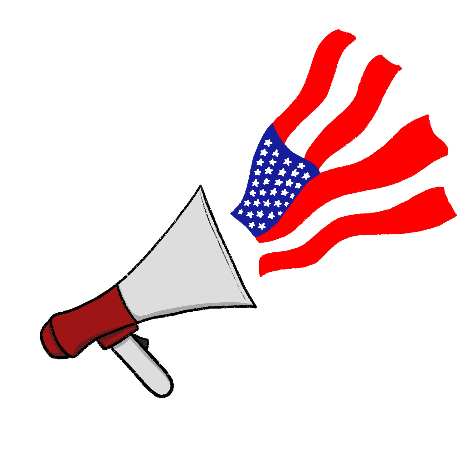 An American flag projecting from a megaphone