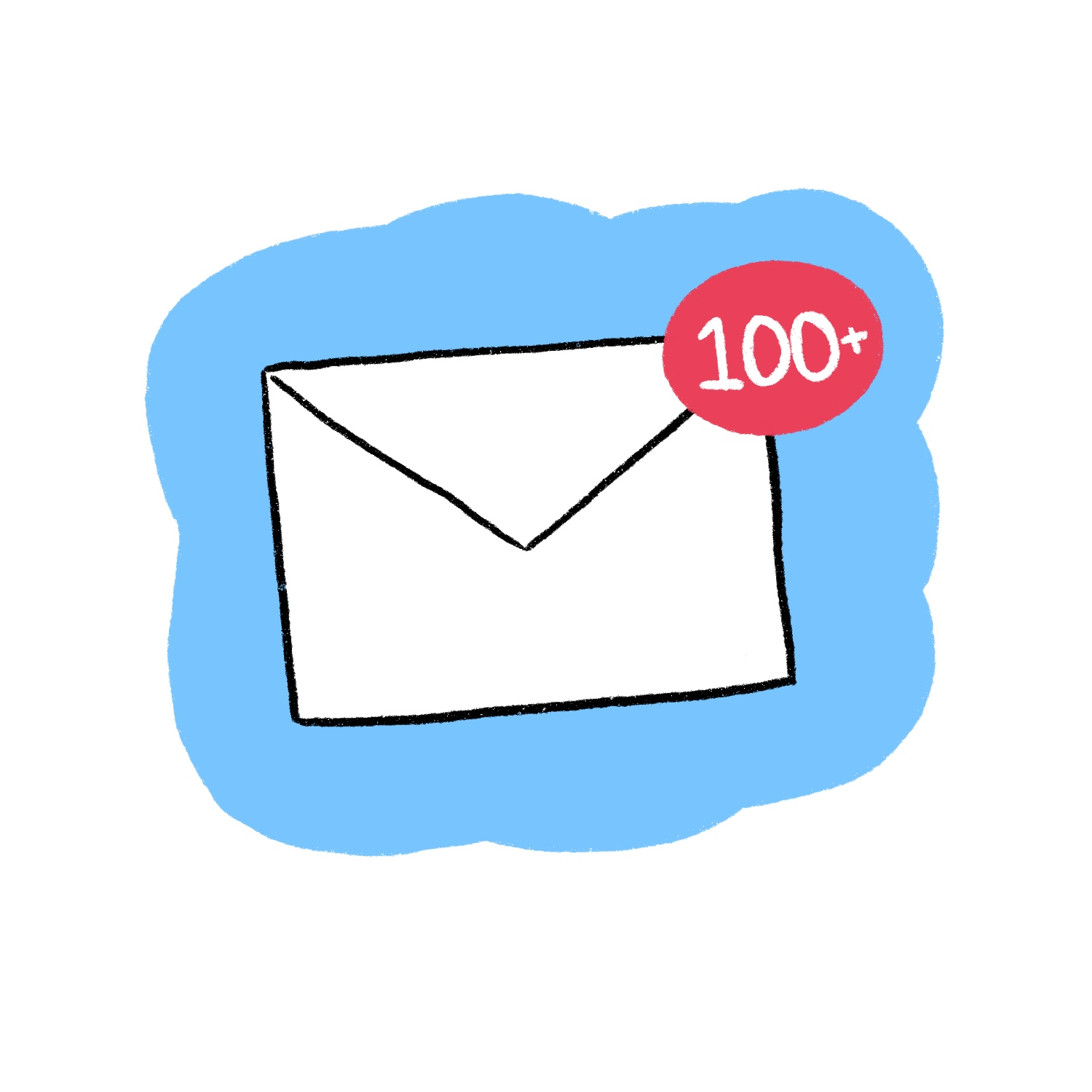 An email letter icon with a 100+ reply indicator