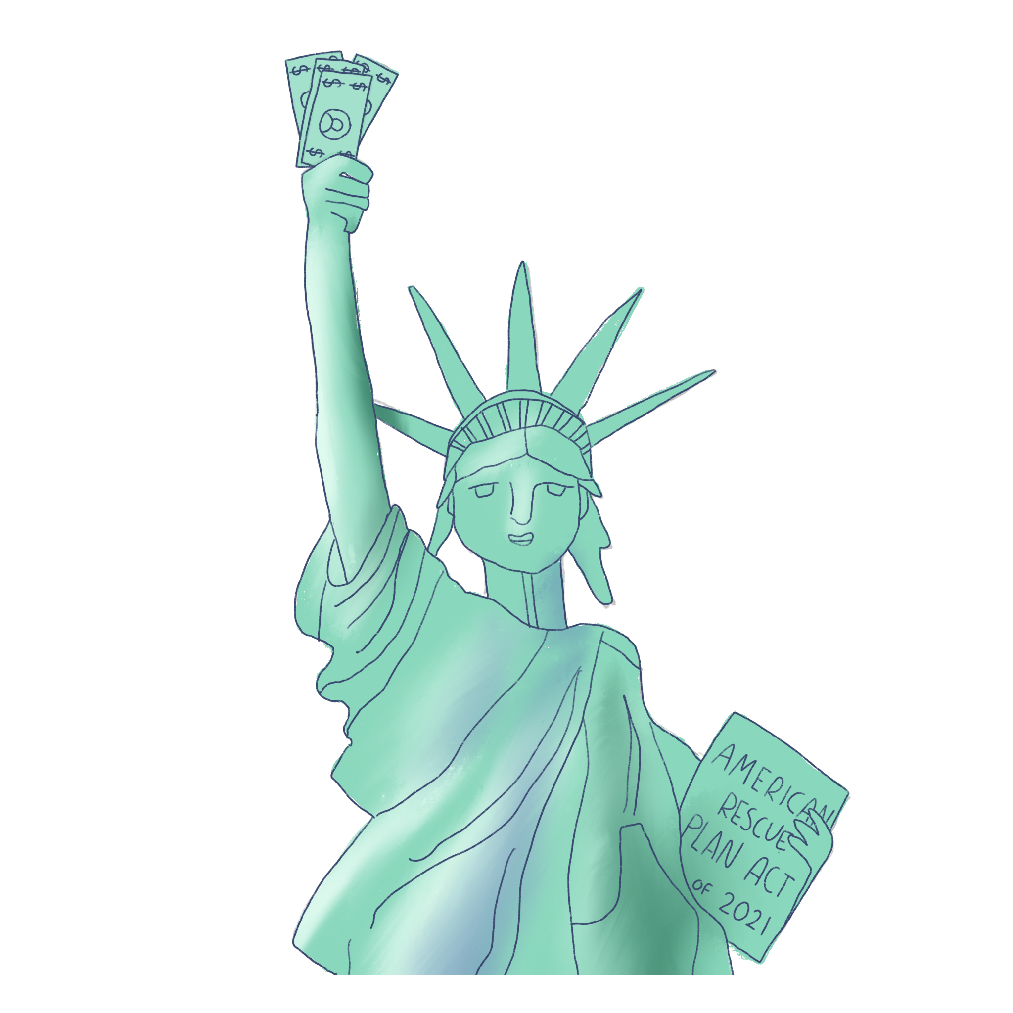 An image of the Statue of Liberty holding cash instead of a torch and with a tablet reading American Rescue Plan Act 2021.